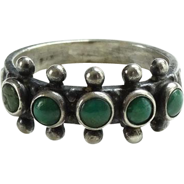 Old Zuni Snake Eye Turquoise Row Ring Size 5.25 Hallmarked Sterling
