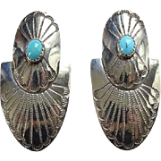 Vintage Southwestern Turquoise Concho Pierced Earrings Hinged Dangle