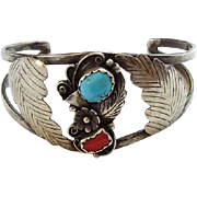 Vintage Navajo Cuff Bracelet Turquoise Red Coral Signed A Angela Sterling Native American
