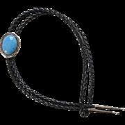 Vintage Southwestern Denim Lapis Lazuli Bolo String Tie Signed R Sterling