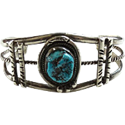 Vintage Native American Turquoise Nugget Cuff Bracelet Sterling Silver Pulled Wire