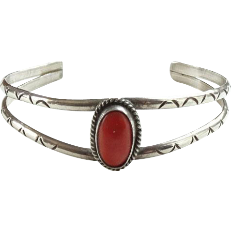 Southwestern Coral Cuff Bracelet Stamp Decorated Sterling Silver Native American