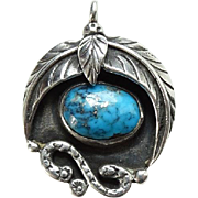 Vintage Southwestern Morenci Turquoise Sterling Silver Necklace Pendant Love Token Dated 1975