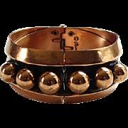 Vintage Renoir Designer Copper Hinged Clamper Bracelet With Orbs Signed