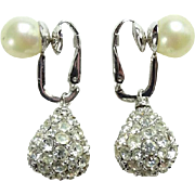 Vintage Ciner Designer Clip Earrings Simulated Pearl Pave Rhinestone Drop Dangle Signed