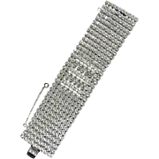 Vintage Weiss Designer Wide Clear Crystal Rhinestone Ten Row Bracelet 1950s Glamour