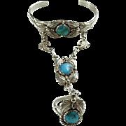 Vintage Southwestern Turquoise Cuff Slave Bracelet Ring Size 7 Signed HF Sterling