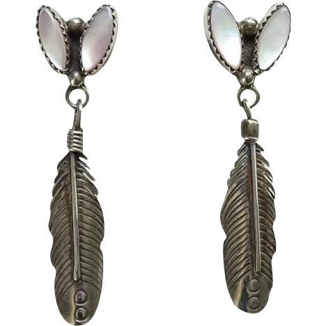 Vintage Southwestern Mother of Pearl Pierced Earrings Sterling Silver Feather Dangle
