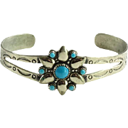 Signed Bell Trading Post Nickel Silver Turquoise Bracelet Native American