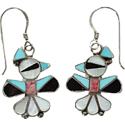 Vintage Zuni Thunderbird Pierced Dangle Earrings Turquoise Coral Mother of Pearl Onyx