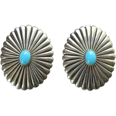 Vintage Southwestern Turquoise Sterling Silver Concho Pierced Earrings