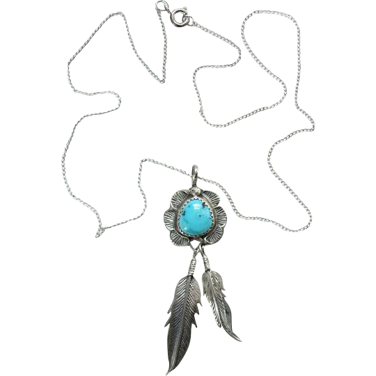 Vintage Native American Turquoise Pendant Necklace Two Feathers Sterling Silver