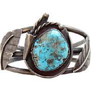 Vintage Morenci Turquoise Navajo Cuff Bracelet Sterling Silver Native American Gorgeous Stone