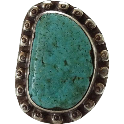 Old Native American Natural Turquoise Ring Size 7 Stamped Raindrops Sterling Silver