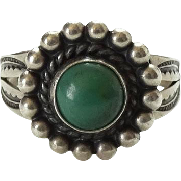 Bell Trading Post Native American Green Turquoise Ring Size 6.5 Signed