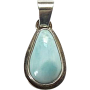 Vintage Larimar Gemstone Necklace Pendant 925 Sterling Silver Teardrop Shape