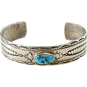 Vintage Native American Juan Guerro Turquoise Cuff Bracelet Signed Sterling Stamp Decorated