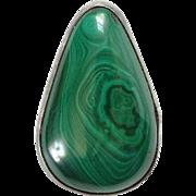 Vintage Green Malachite and 925 Sterling Silver Gemstone Necklace Pendant Hallmarked Teardrop Shape