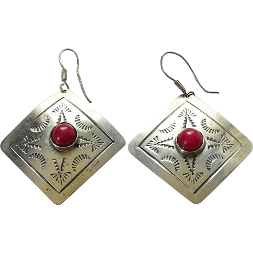 Taxco Mexico Square Coral and 925 Sterling Silver Pierced Earrings TM-180