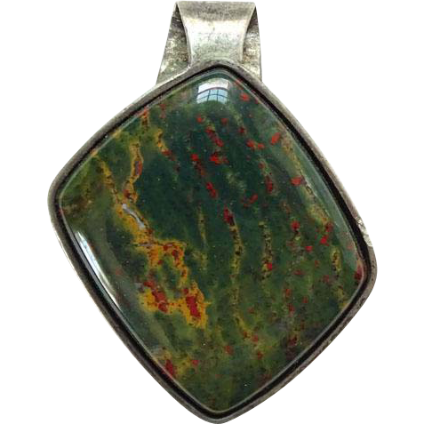 Vintage Bloodstone Gemstone and Sterling Silver Necklace Pendant