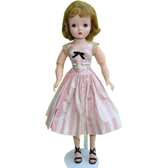 Madame Alexander Cissy Doll in Sleeveless Pink White Stripe Polished Cotton Dress Tagged