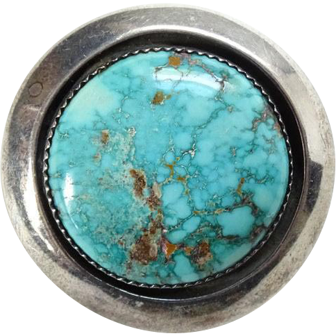 Vintage Native American Turquoise Pendant Brooch Signed Jackson Sterling Silver Gorgeous Stone