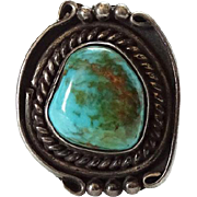 Old Navajo Turquoise and Sterling Silver Ring Size 7.75 Conjoined WB Signature