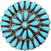 Native American Zuni Petit Point Turquoise Cluster Pendant Brooch Pin Signed GAB Sterling