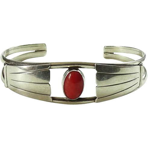 Southwestern Coral and Sterling Silver Cuff Bracelet Native American