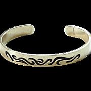 Native American Hopi Silver Overlay Cuff Bracelet Hallmarked Sterling Swirl Design