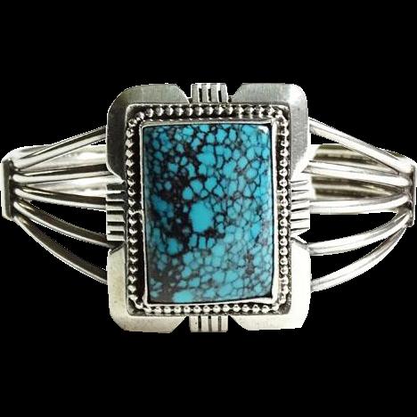 Vintage Navajo Spiderweb Turquoise Cuff Bracelet Hallmarked Sterling Gorgeous Stone