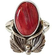 Vintage Native American Spiny Oyster and Sterling Ring Signed AS Size 6.25