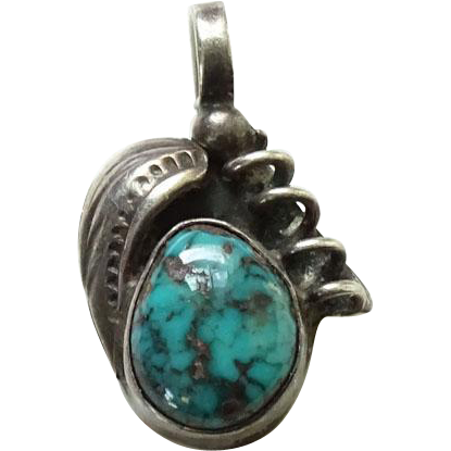 Vintage Navajo Turquoise Necklace Pendant Signed JU Sterling Silver Beautiful Stone