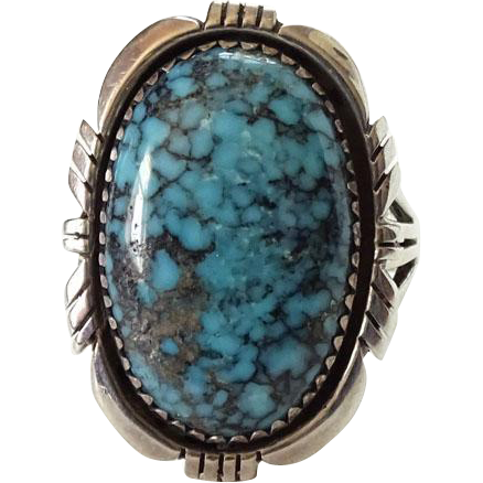Native American Austin Garcia Turquoise and Sterling Ring Size 9.25 Signed