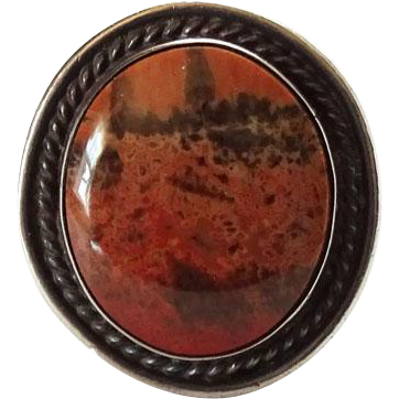 Vintage Native American Fred Harvey Era Petrified Wood and Sterling Ring Size 5 C1940s