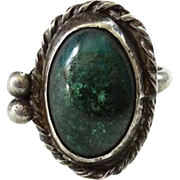 Vintage Native American Chrysocolla Gemstone Ring Size 6 Sterling Silver
