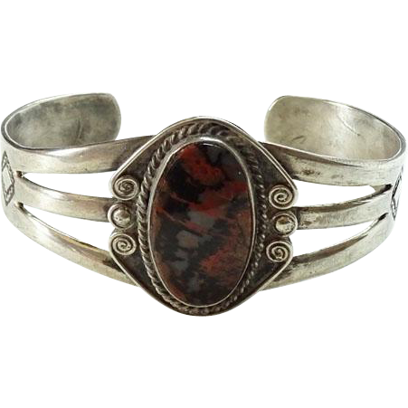 Old Fred Harvey Era Navajo Petrified Wood Sterling Silver Cuff Bracelet 1940s Handmade