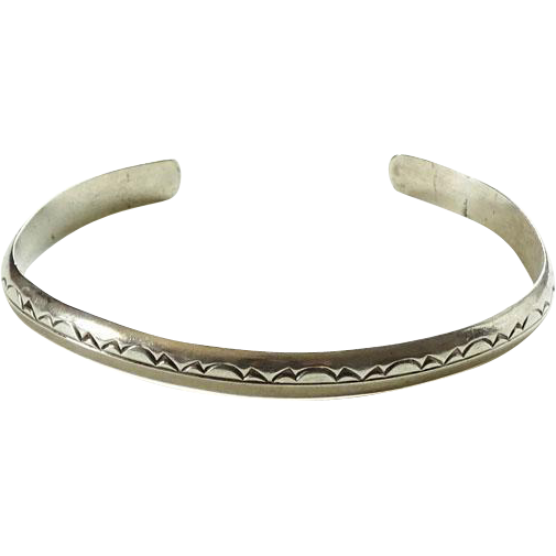 Native American Silver Cuff Bracelet Hallmarked E P Sterling Stamp Decorated