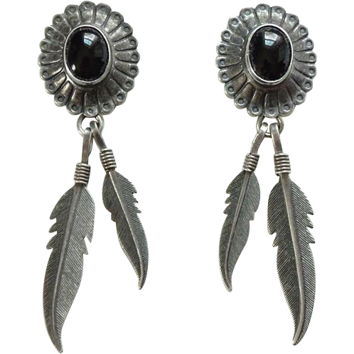 Vintage Southwestern Q. T. Sterling and Onyx Feather Dangle Pierced Post Earrings