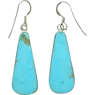 Vintage Southwestern Style Turquoise Tab Drop Dangle Pierced Earrings 925 Sterling Silver