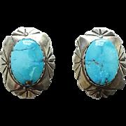 Vintage Southwestern Morenci Mine Turquoise Pierced Post Earrings Sterling Silver