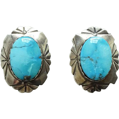 Vintage Southwestern Morenci Mine Turquoise Pierced Post Earrings Sterling Silver