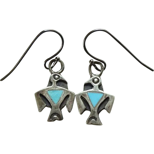 Vintage Native American Turquoise Inlay Thunderbird Pierced Earrings Sterling Silver