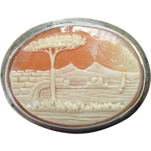 Antique Victorian Carved Landscape Shell Cameo Sterling Silver Mountains Lake Sailboat Tree