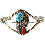 Native American Navajo Cuff Bracelet Turquoise Coral Feathers Signed Sterling