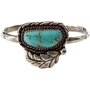 Old Native American Turquoise Cuff Bracelet Signed ML Possibly Milton Lasiloo Sterling Silver