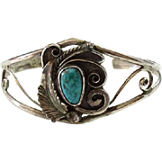 Old Native American D. & J. Clark Navajo Turquoise Cuff Bracelet Sterling Silver Signed