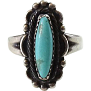 Bell Trading Post Navajo Turquoise Ring Size 5.5 Sterling Silver Signed