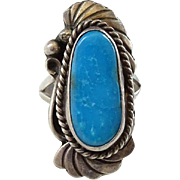 Old Navajo Blue Turquoise Size 7.5 Ring Signed Ashley Sterling Silver Gorgeous Stone