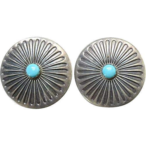 Vintage Native American Turquoise Concho Clip Earrings Sterling Silver
